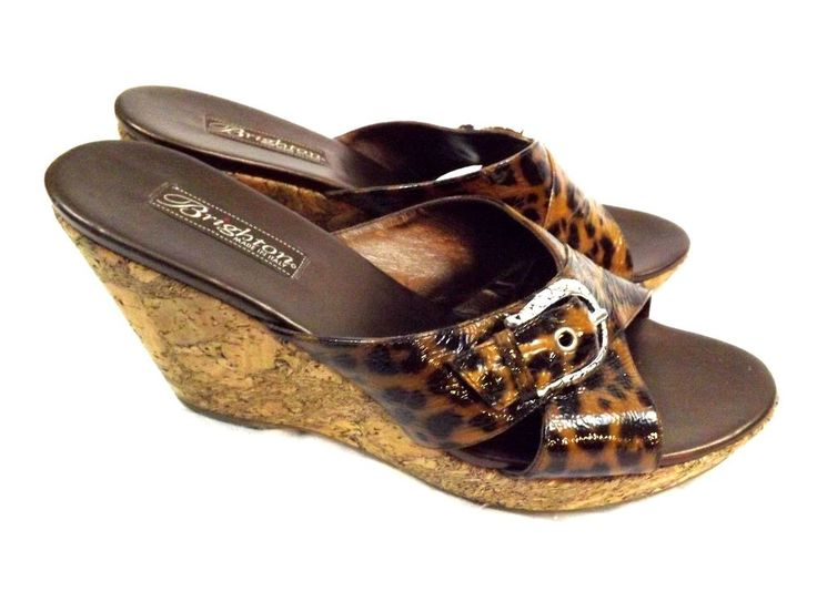Brighton Summer Heels Sandals Shoes, 10 M, Leopard Print Leather Wedge Platforms #Brighton #PlatformsWedges