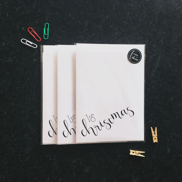It's Christmas brush lettered greeting card. 100% recycled A6 white 300gsm - in stock now!