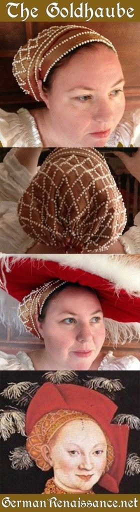Not elizabethan, strictly speaking, but wonderful pattern for a pearled, 16th century german cap.