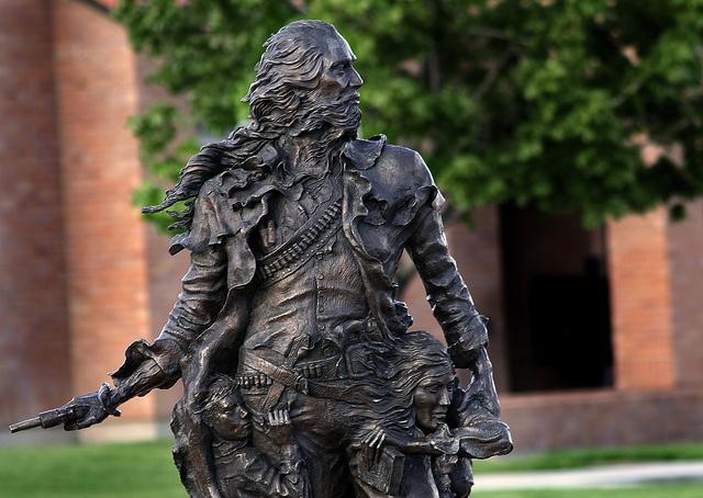 Bronze statue of Orin Porter Rockwell's contribution in settling Lehi, Utah