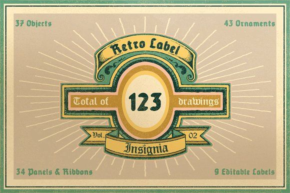 Retro Label/Insignia Vol.2 by NStudio on @creativemarket