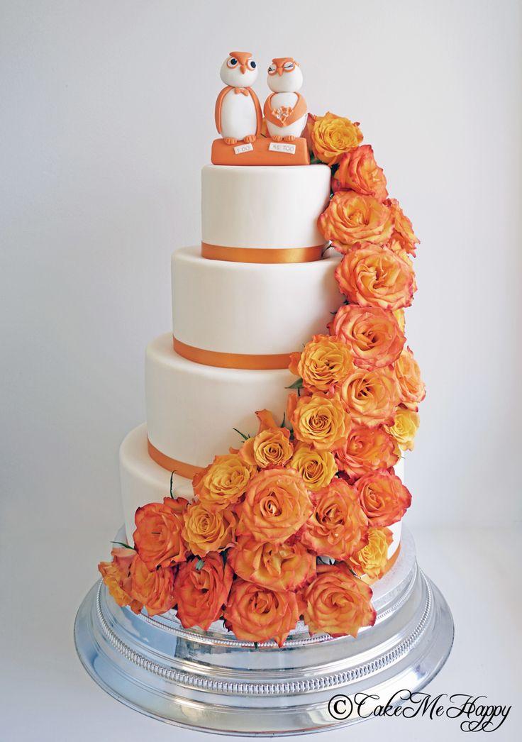 Bröllopstårta orange rosfall
