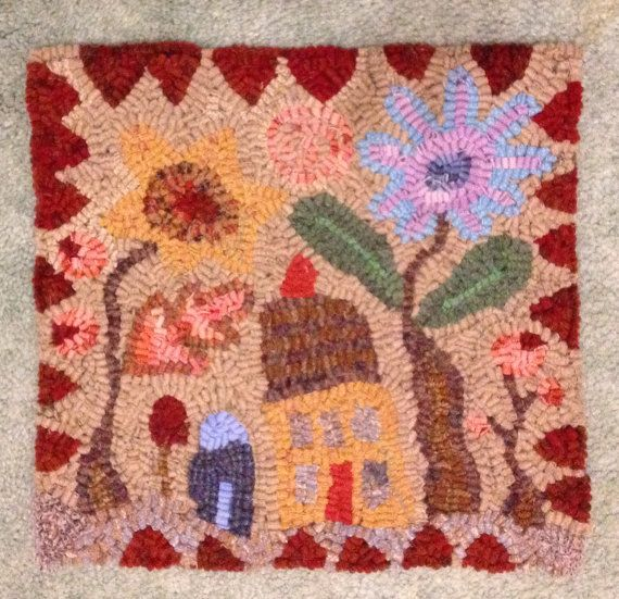Primitive hooked rug Wonky Hideaway House on Etsy, $98.65 CAD
