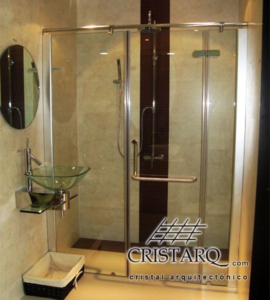 Cancel De Cristal Tempado Y Aluminio Para Regadera Espejo