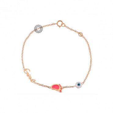 Παιδικό βραχιόλι για κορίτσι ροζ χρυσό Κ9 με τη λέξη «Girl», πατούσα από ροζ σμάλτο και ενσωματωμένο μάτι | Παιδικά κοσμήματα ΤΣΑΛΔΑΡΗΣ Χαλάνδρι #girl #ματι #πατουσα #χρυσο #βραχιολι