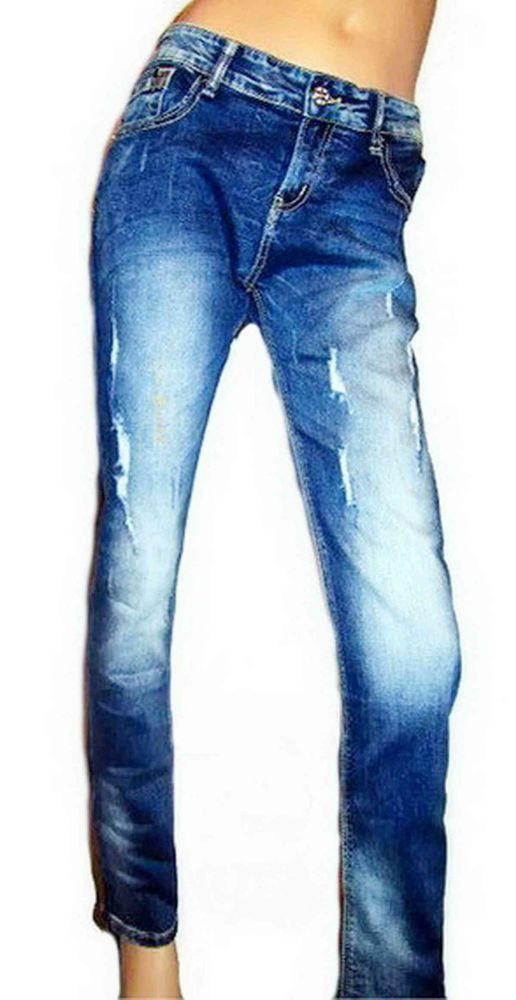 Jeans Destroyed Strass Rhinestones Ripped Frayed Stonewashed Blau Röhrenjeans