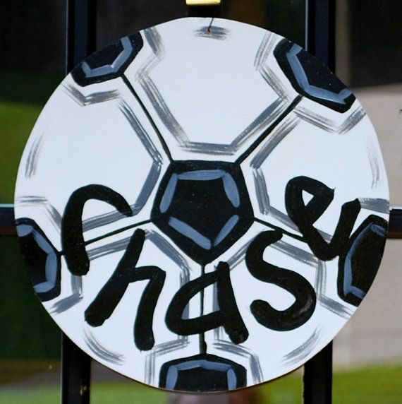 Soccerball Door Hanger, Soccer team gift, Soccerball Decor via Etsy