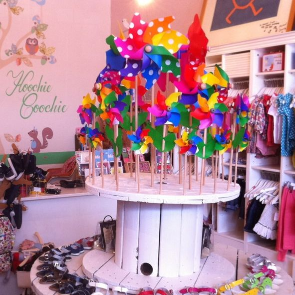 Cute vintage display @ #hoochicoochie kids store Nth Fitzroy Victoria...... #vintage #whirly #windmills #italian #rainbow #pinwheel