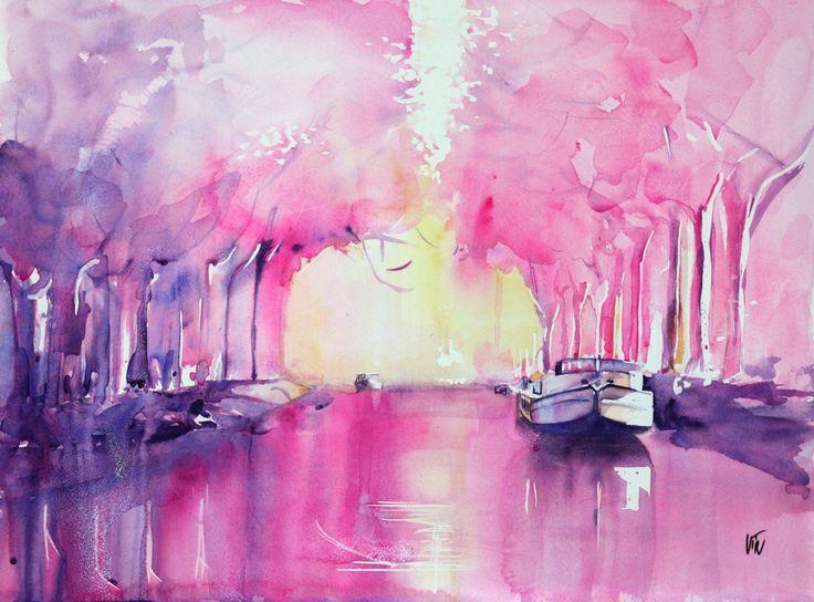 Canal du midi - Aquarelle Virginie SCHROEDER Toulouse