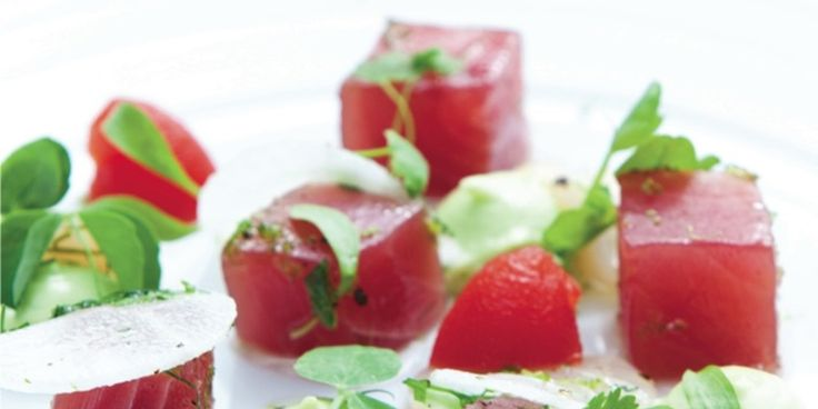 Yellowfin tuna with a lime and white radish dressing and Bloody Mary jelly #recipe #omega3 #tuna