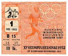 Kesäolympialaiset 1952 – Wikipedia > Jalkapallon pronssiottelun Ruotsi-Saksa pääsylippu