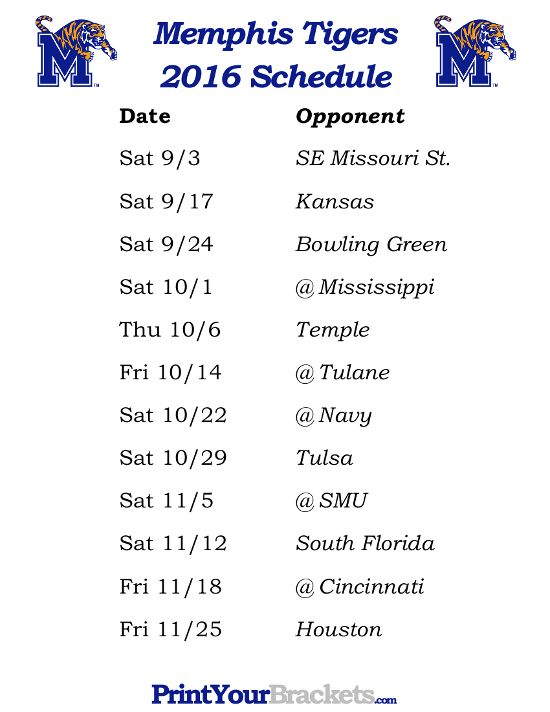 Printable Memphis Tigers Football Schedule 2016  https://www.fanprint.com/licenses/akron-zips?ref=5750