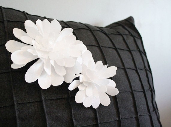 White mums pintucked pillow cover by decoYellow $48.00 at Etsy.com