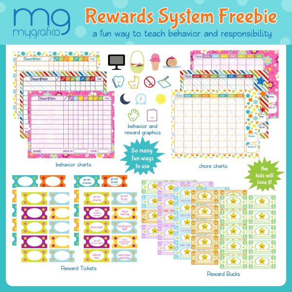 MYGRAFICO Kids Rewards System, free download.  You and your kids will love this rewards system freebie.  Helps encourage good behavior, better homework skills, chore responsibility and more.   Included in this set:  3 Behavior Charts 3 Chore Charts 13 reward and behavior graphics 4 Printable reward ticket sheets 5 Printable reward buck sheets