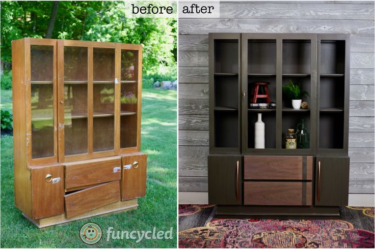 Mid-Century Modern Painted Hutch http://funcycled.com/projects/mid-century-modern-painted-hutch-tuesdays-treasures/ #midcenturymodern #DIY #paintedfurniture #makeover #repurposedfurniture #funcycled