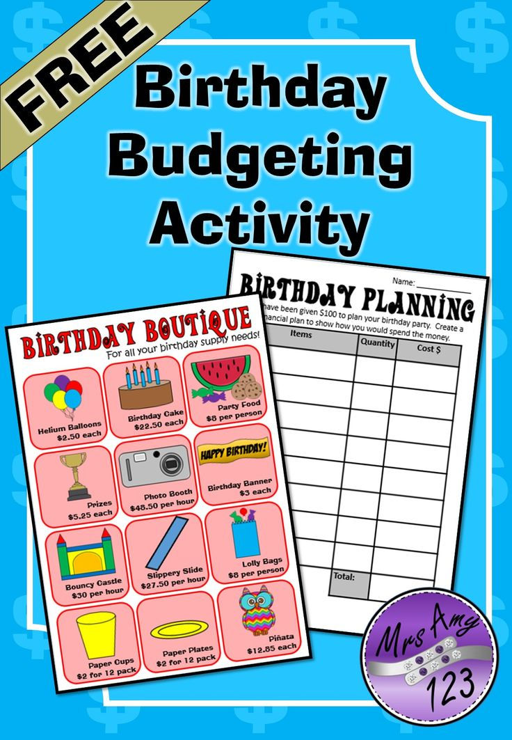 Birthday Budgeting Activity is a real world activity students plan out their birthday party by buying supplies from the Birthday Boutique while sticking to a budget (2 budgets are included with 2 different layouts). 6 pages for FREE! http://designedbyteachers.com.au/marketplace/birthday-budgeting-activity/