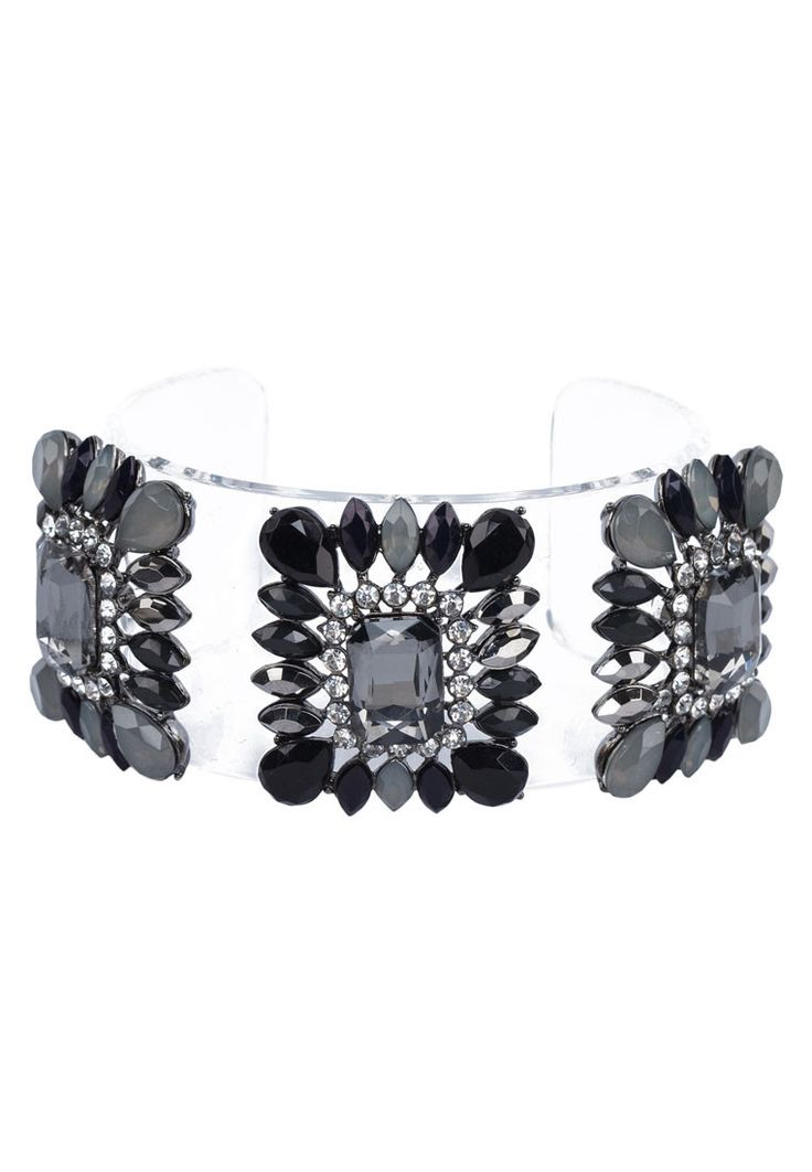 Embellished Cuff Bracelet by Something Borrowed. Unique bracelet with transparent plastic, with cushion cut crystal, looking good with this bracelet, you can wear it with to the evening party. With diameter 6.4. Perfectly fabulous! http://www.zocko.com/z/JFbc5