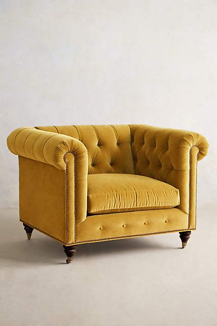 Velvet Lyre Chesterfield Armchair, Hickory - anthropologie.com