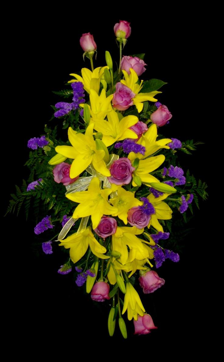 237 best florists images on pinterest flower arrangements floral yellow lily standing spray izmirmasajfo