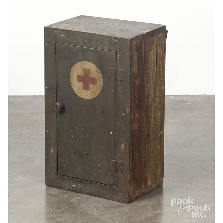 "Painted pine Red Cross medicine chest, late 19th c., 21 1/2"" h., 13"" w...."