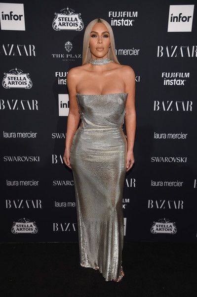 9289435e9e Vintage Versace Chainmail At The Harper s Bazaar Icons Event - Kim  Kardashian s Most Daring Dresses - Photos