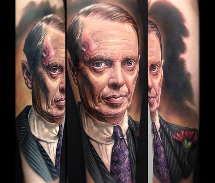 Nucky Thompson portrait tattoo by Paul Acker