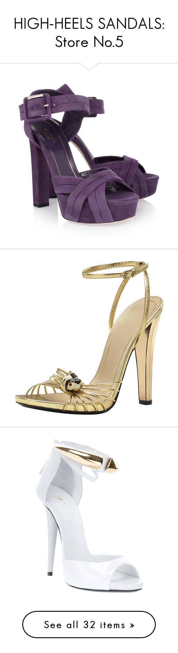 """""""HIGH-HEELS SANDALS: Store No.5"""" by eve-stardust on Polyvore featuring shoes, sandals, heels, gucci, purple, gucci sandals, strappy platform sandals, strappy high heel sandals, heeled sandals and purple sandals"""
