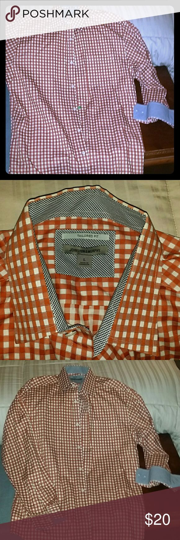 Johnston & Murphy Men's tailor fit button down Johnston & Murphy mens button down dark borange and white checkered print worn twice fresh out of the cleaners Johnston & Murphy Shirts Dress Shirts
