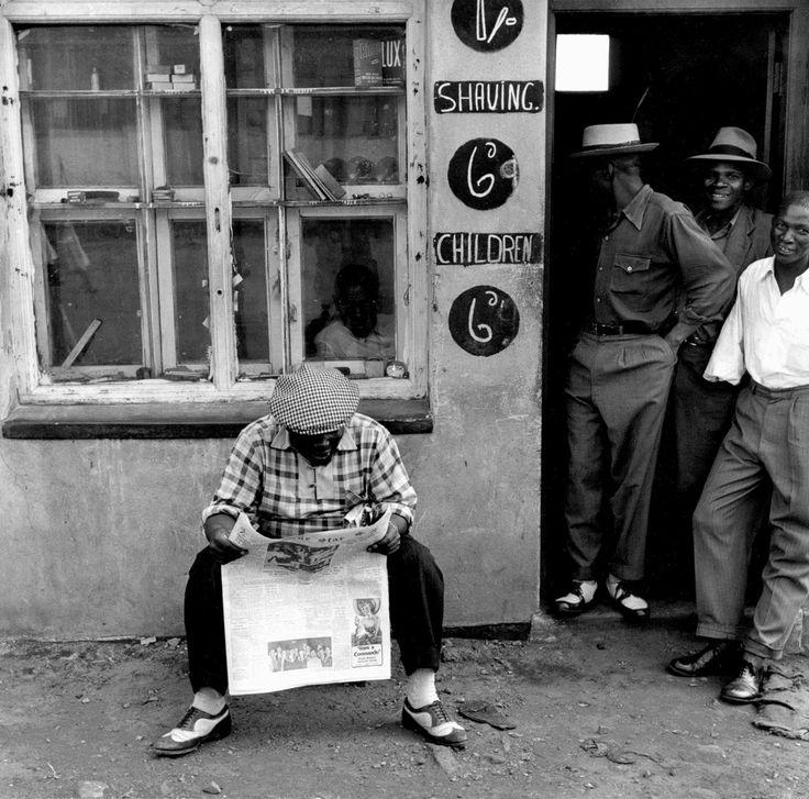 "Jürgen SCHADEBERG :: Sophiatown Barber Shop, from ""The Black & White 50's in South Africa"""