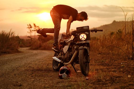 More looks by Chanchan Stranger: http://lb.nu/user/5455630-Chanchan-S  #sunset #motorcycle #caferacer