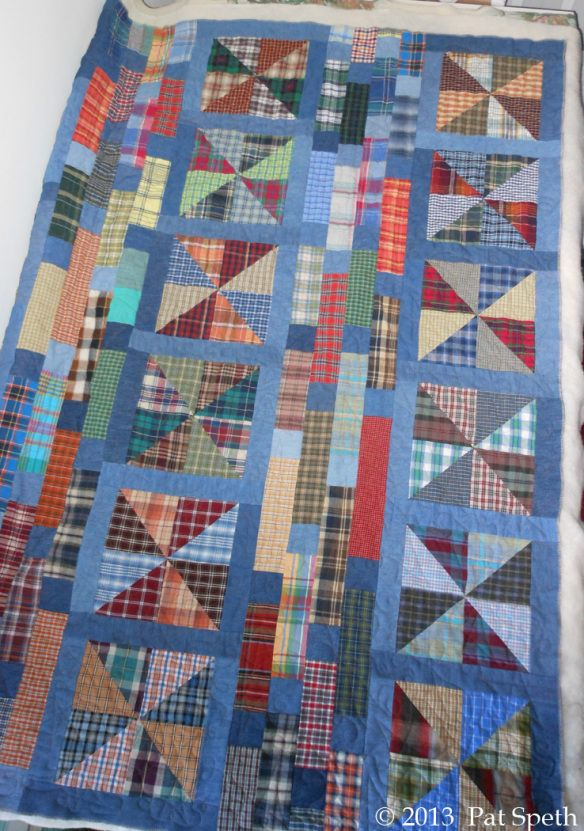 quilt from recycled mens shirts from Nickle Quilts
