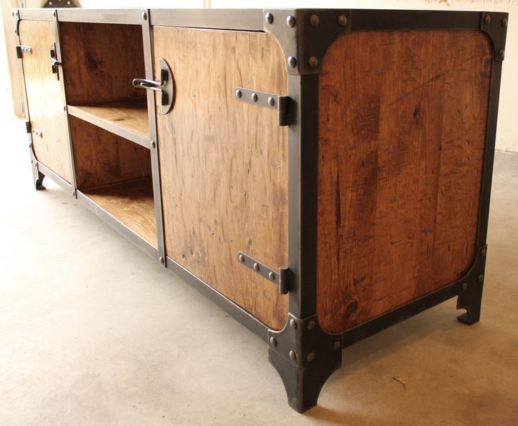Handmade industrial media console, buffet or credenza. wood, iron, steel riveted construction. Vintage design
