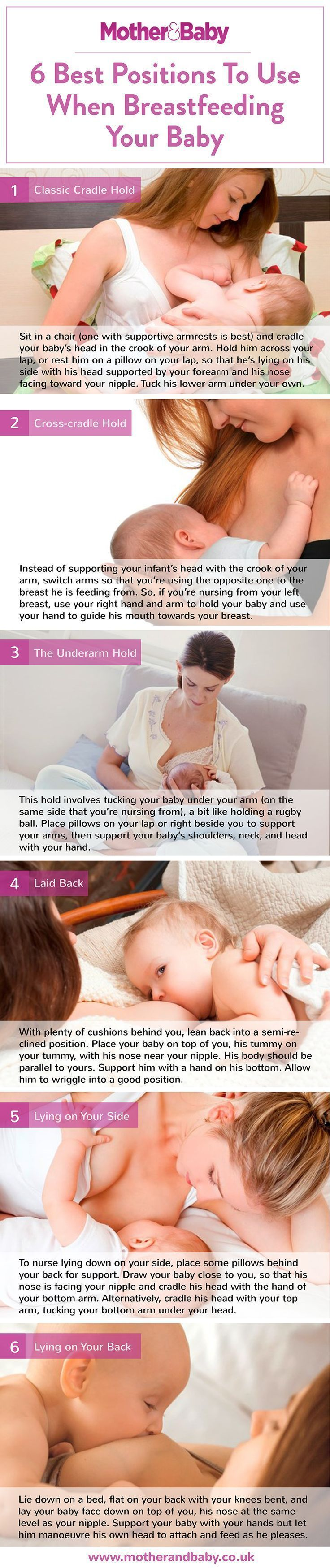 From the classic cradle hold to the rugby ball (stay with us…), there are plenty of breastfeeding positions to try until you find what works best for you and your baby