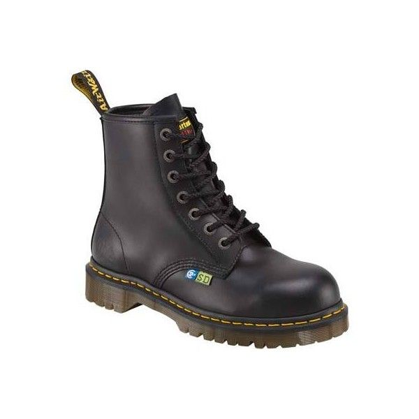 Women's Dr. Martens Icon 7B10 SSD Steel Toe 7 Eye Boot - Black Fine... (£97) ❤ liked on Polyvore featuring shoes, boots, black, casual, work boots, toe cap boots, safety toe shoes, cap toe work boots, steel toe cap boots and black boots