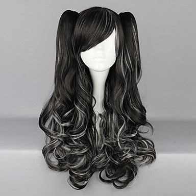 Black and White Blended Curly Pigtails 70cm Gothic & Punk Lolita Wig – USD $ 69.99