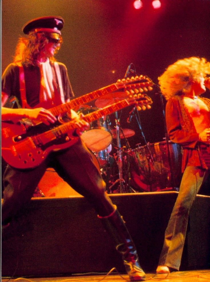 Jimmy Page and Robert Plant (Three Quarters) of Led Zeppelin in 1977