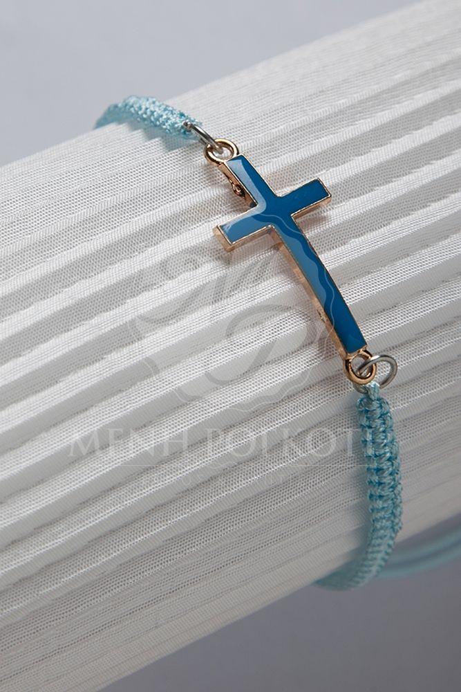 Μένη Ρογκότη - Μαρτυρικά βάπτισης βραχιόλια σιελ μακρεμέ με ασορτί σταυρό