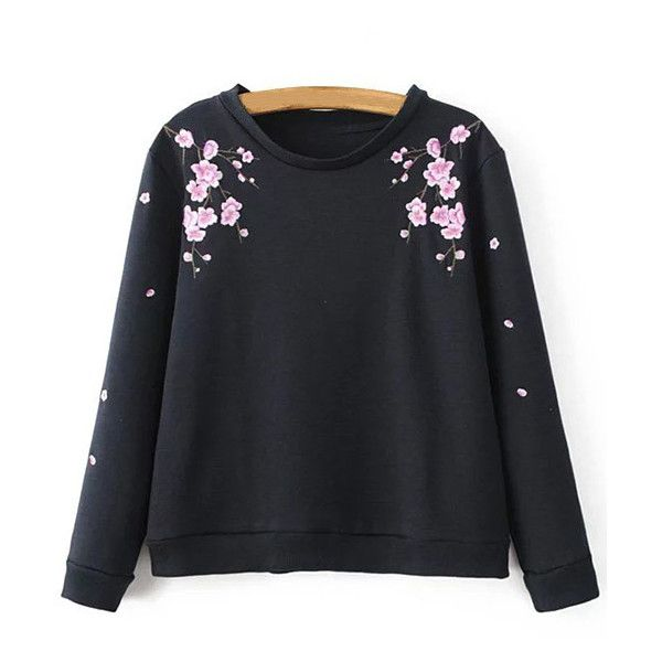 Titoni Embroidered Sweatshirt ($99) ❤ liked on Polyvore featuring tops, hoodies, sweatshirts, embroidery top, embroidered sweatshirts and embroidered top