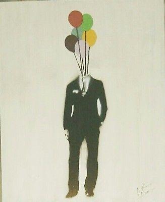 signed Original street graffiti urban suited man art by uk artist Graham Sheen