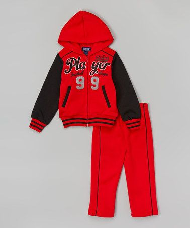 This Red 'Team Player' Zip-Up Hoodie & Pants - Toddler & Boys by Unik is perfect! #zulilyfinds