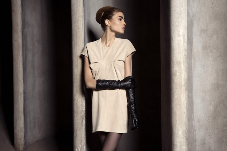 UNEINS Paula Reindeer Leather Dress #reindeerleather #dress #fashion #uneins #editorial #aw