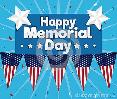 Memorial Day poster with American festive and patriotic decoration.