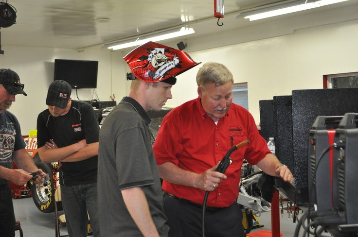 Snap-on Tools Welding seminar at the Team 3 Red shop! The welder was so easy to use..even I could use it! :-)