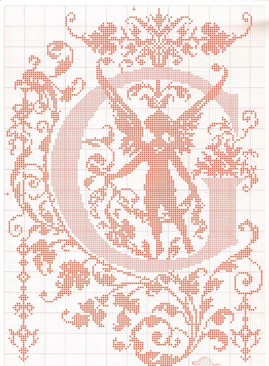 "cross stitch alphabet in 2 colors- very ornate monogram 26 single letters -- ""G'"" #7"