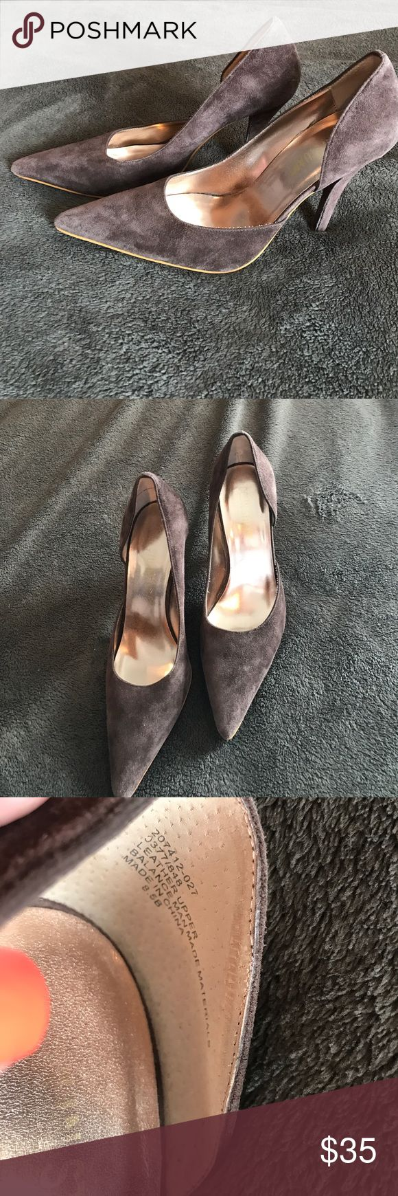 Colin Stuart Victoria Secret suede heels 8.5 brown Colin Stuart Victoria Secret suede heels 8.5 brown EUC. Minimal wear on soles. Inside in perfect condition. Leather upper. Balance man made material. Bin 4 Colin Stuart Shoes Heels