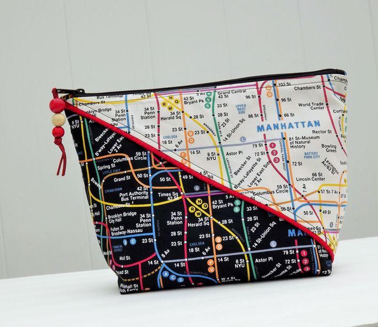 Large Makeup Bag, Travel Bag, Oversized Makeup Bag, Clutch Bag, Gadget Case, New York Design by helensoriginal on Etsy