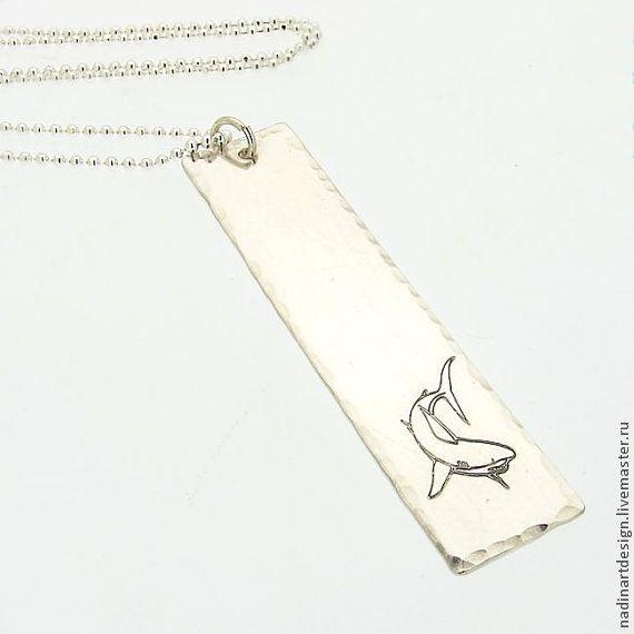 """Серебряная цепочка с подвеской """"Акула"""". Стильное украшение унисекс - серебрянный"""