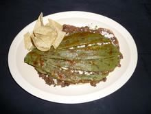 Huarache Azteca :Made with beans, onions, cilantro, ranchero cheese, hot salsa, and nopales from Pico Pica Rico Restaurant in Los Angeles #Food #Huarache #Restaurant forked.com