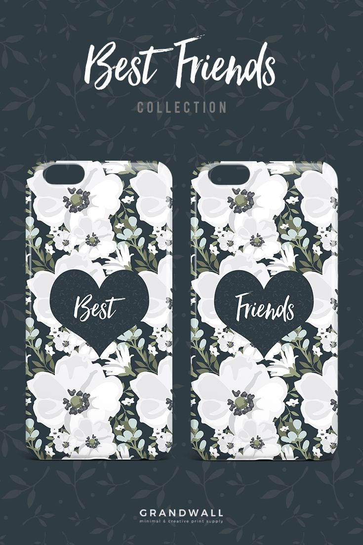 Get these adorable floral matching best friends cases exclusively at @grandwall ! Shop here: https://grandwall.co/collections/phone-cases/products/best-floral-heart-phone-case?variant=10765380485