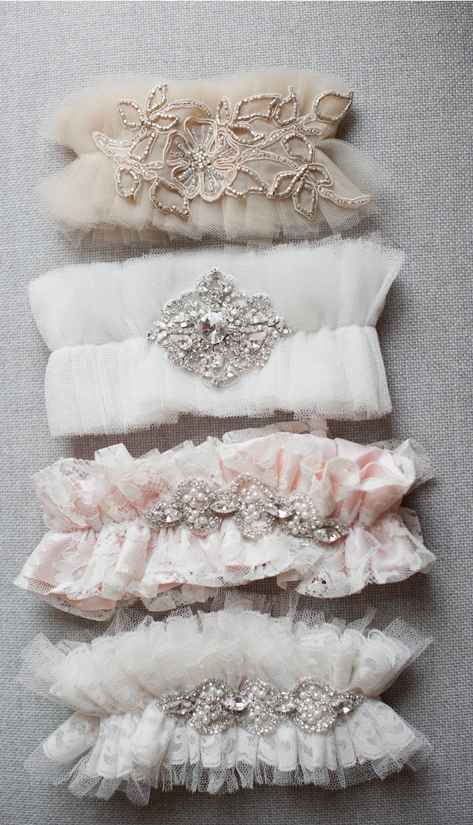 Tulle Couture Garters Using Soft Ivory Lace, Crystals and Embroideries. By Emily Riggs Bridal